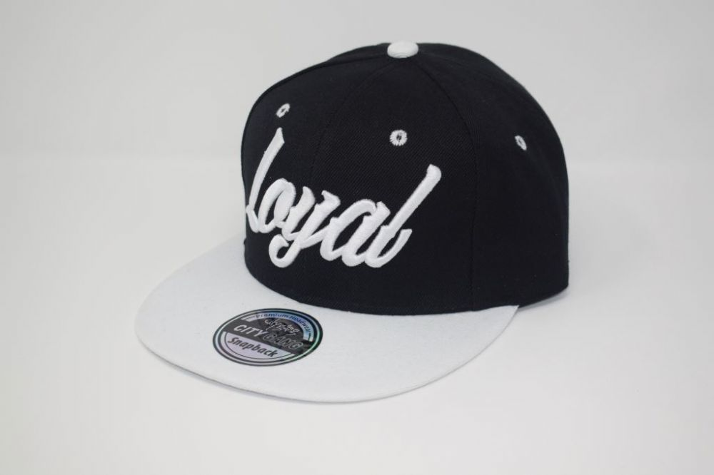 C4879-'Loyal' Black/White Snapback caps, one size fits all adjustable
